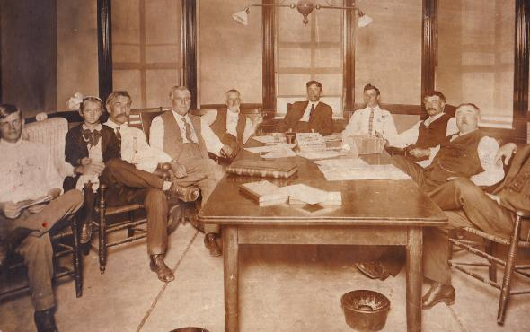 Board of Supervisor's Room back in the day; notice the spittoons on the floor.
